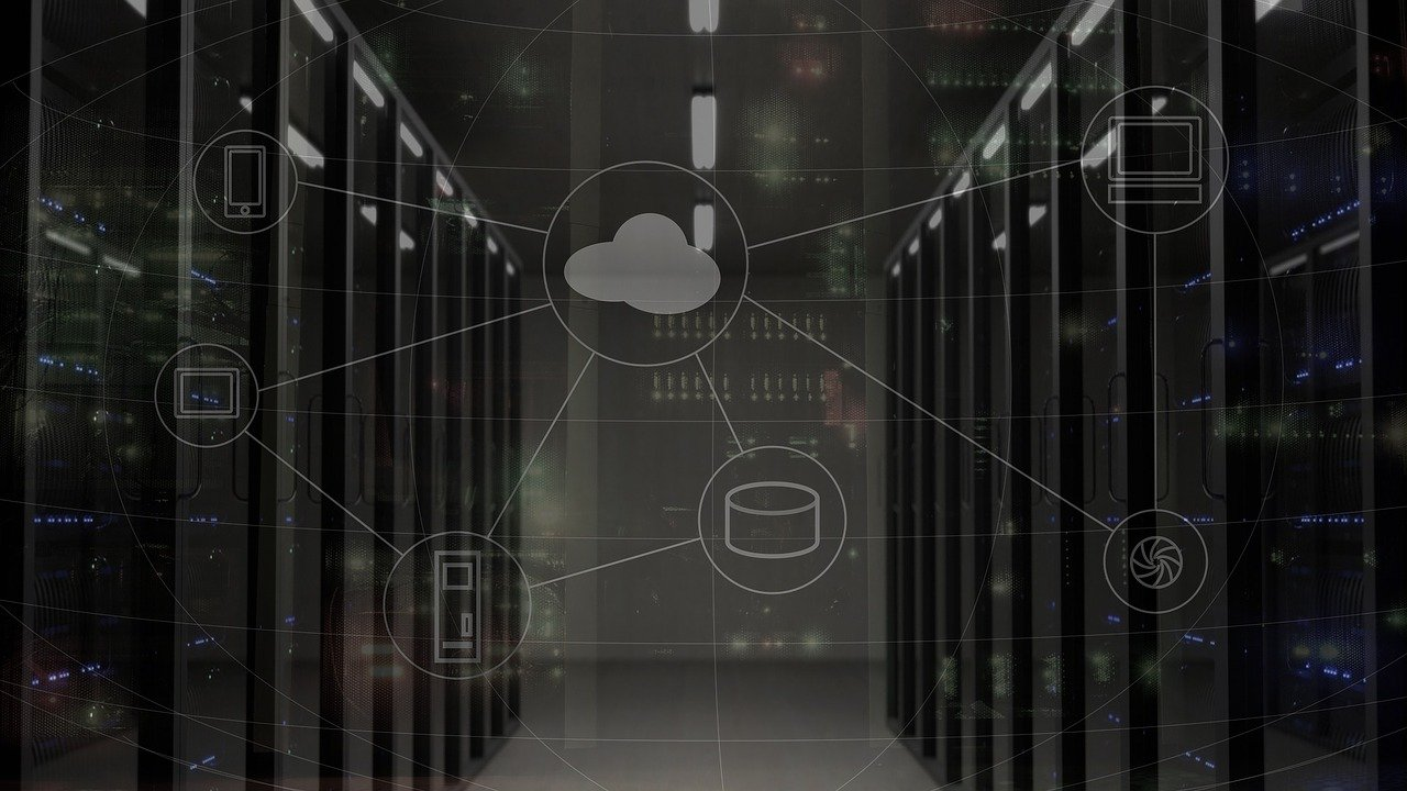 room of servers with overlay of icons