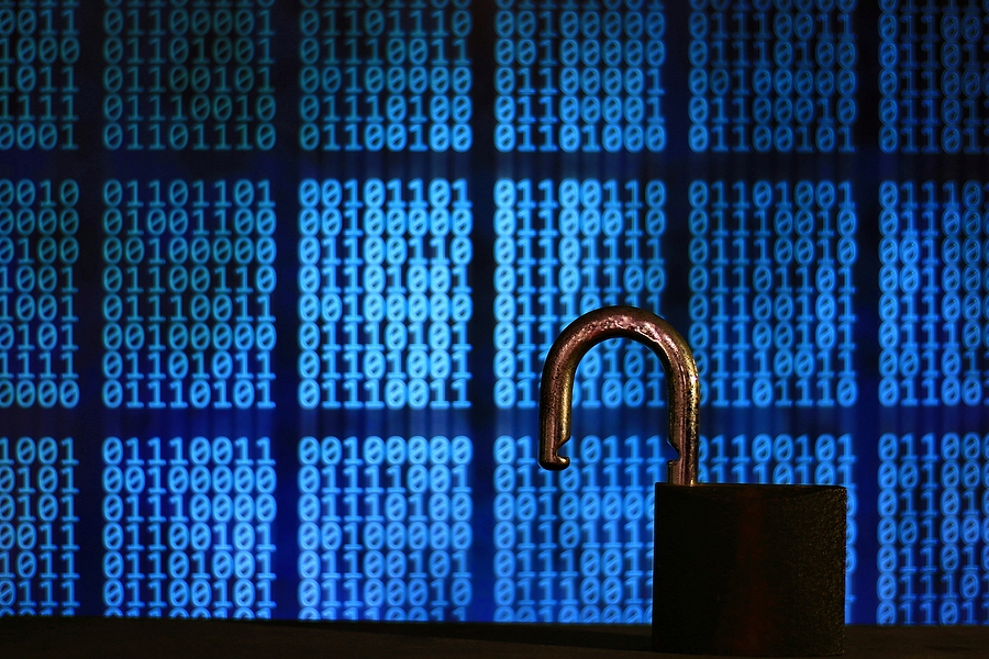 image of opened lock with binary code in the background