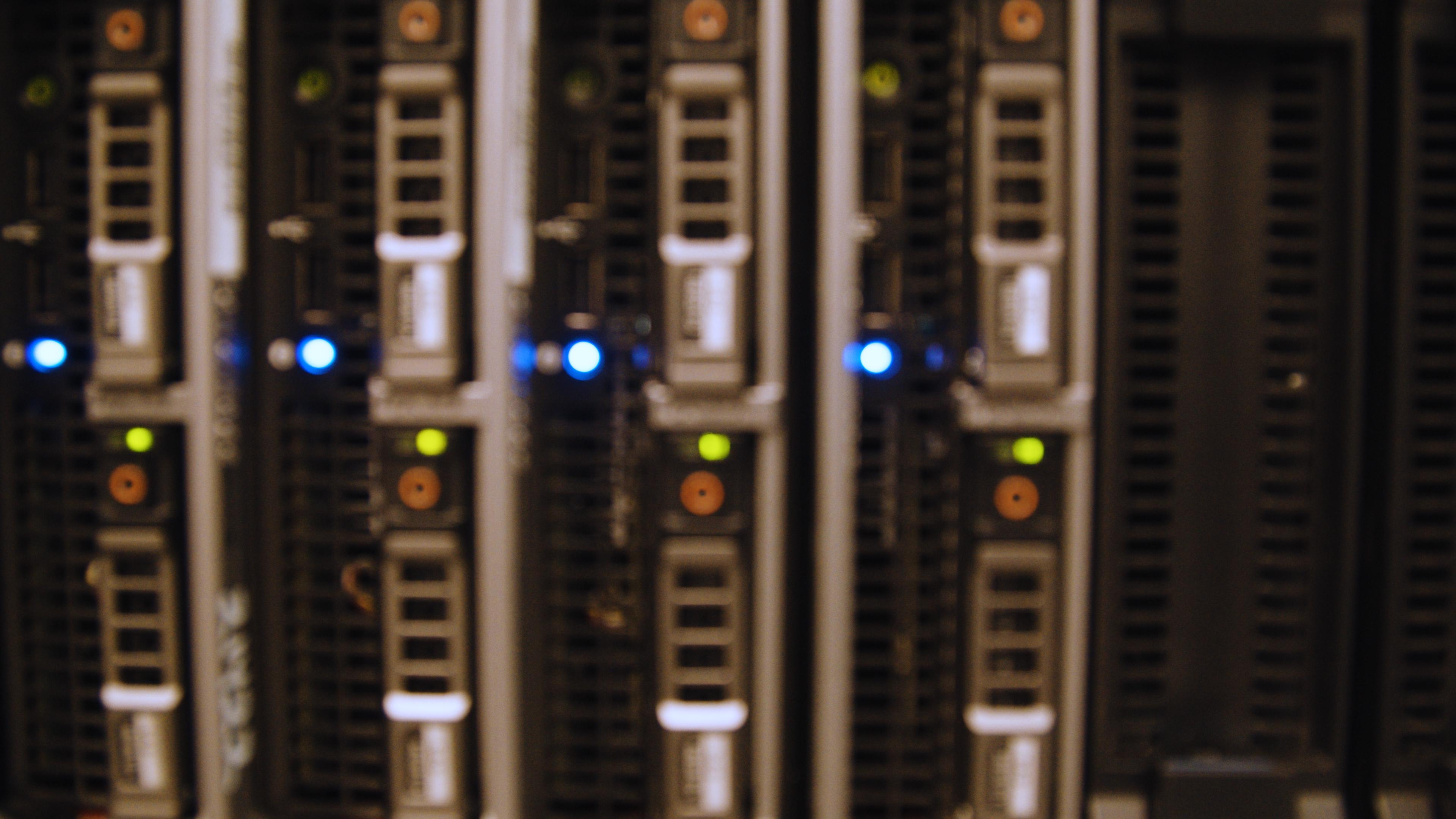 computer equipment, servers blinking blue lights
